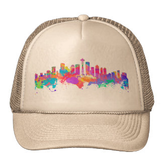 Watercolor art print of the skyline of Seattle USA Cap