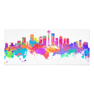Watercolor art print of the skyline of Seattle USA Photo Art