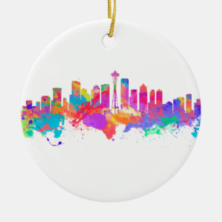 Watercolor art print of the skyline of Seattle USA Round Ceramic Decoration