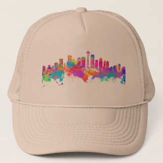 Watercolor art print of the skyline of Seattle USA Trucker Hat