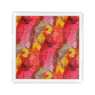 Watercolor art red yellow acrylic tray