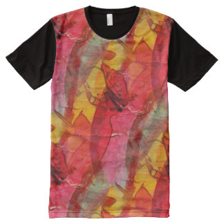 Watercolor art red yellow All-Over print T-Shirt