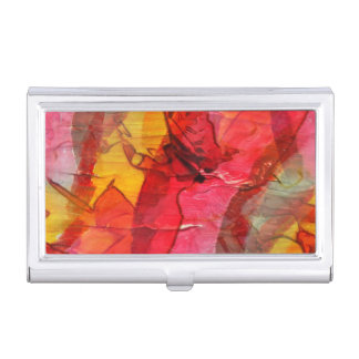 Watercolor art red yellow business card holder