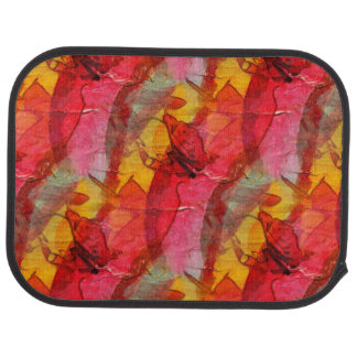 Watercolor art red yellow car mat