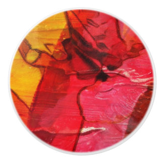 Watercolor art red yellow ceramic knob
