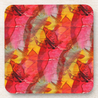 Watercolor art red yellow coaster