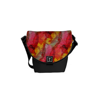 Watercolor art red yellow courier bag