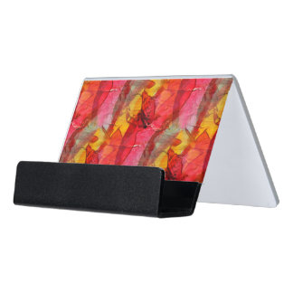 Watercolor art red yellow desk business card holder