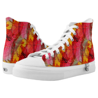 Watercolor art red yellow high tops