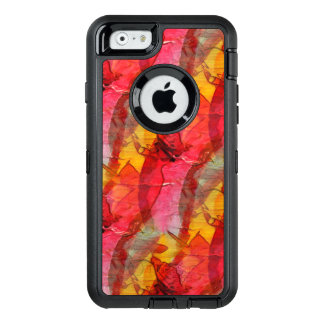 Watercolor art red yellow OtterBox defender iPhone case