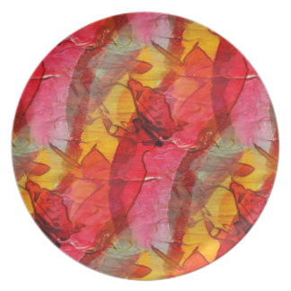 Watercolor art red yellow plate