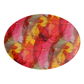 Watercolor art red yellow porcelain serving platter