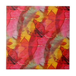 Watercolor art red yellow tile