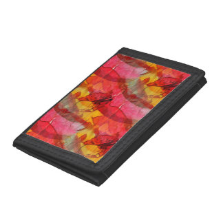 Watercolor art red yellow tri-fold wallet