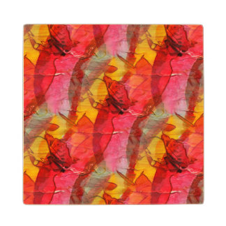 Watercolor art red yellow wood coaster