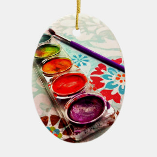 Watercolor Artist Paint Tray and Brush on Flowers Christmas Ornament