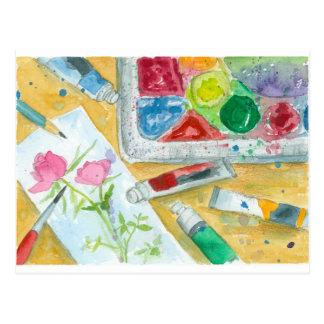 Watercolor Artist Palette Pink Rose Painting Postcard
