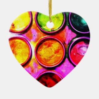 watercolor artist's paint box ceramic heart decoration