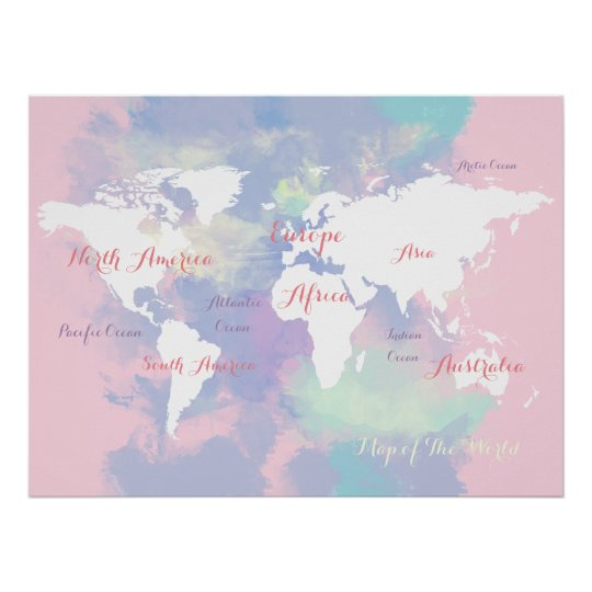 watercolor atlas . map of the world geographic