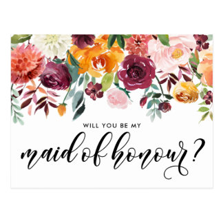 Watercolor Autumn Blooms Be My Maid of Honour Postcard