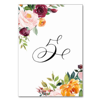 Watercolor Autumn Blooms Floral Table Number 5 Table Cards