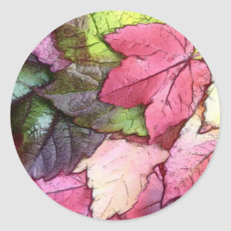 Watercolor Autumn  Leaves Classic Round Sticker