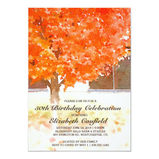 Watercolor Autumn Leaves | Fall Birthday Party Card