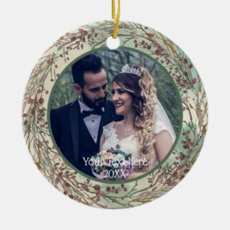 Watercolor Autumn or Winter Wreath, Two Photo Christmas Ornament
