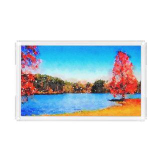 Watercolor Autumn Tree and Lake Acrylic Tray