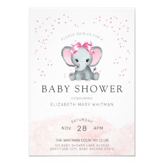 Watercolor Baby Pink Elephant Baby Shower Invitation