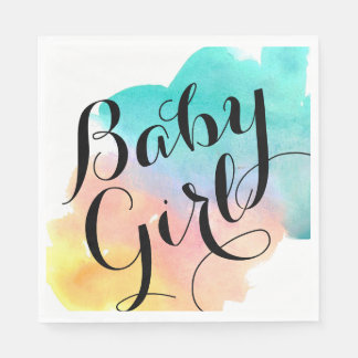 Watercolor babyshower rainbow baby napkin paper napkin