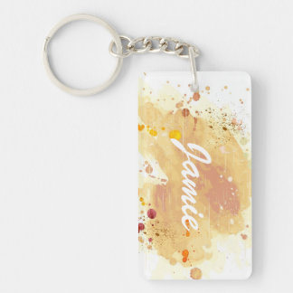 watercolor background Double-Sided rectangular acrylic key ring