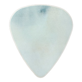 watercolor background in pastel blue and yellow acetal guitar pick