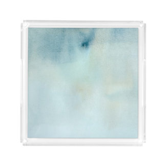 watercolor background in pastel blue and yellow acrylic tray