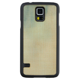 watercolor background in pastel blue and yellow carved maple galaxy s5 case