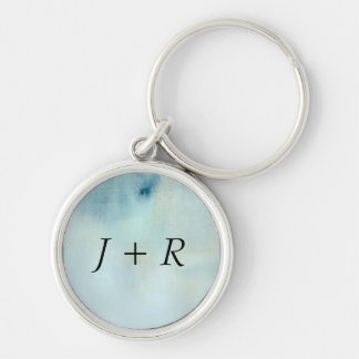 watercolor background in pastel blue and yellow key ring