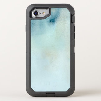 watercolor background in pastel blue and yellow OtterBox defender iPhone 7 case