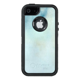 watercolor background in pastel blue and yellow OtterBox defender iPhone case