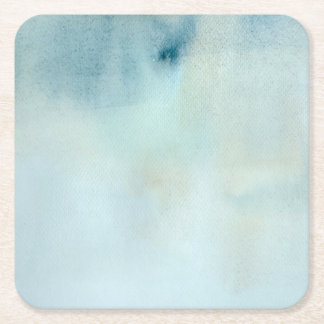 watercolor background in pastel blue and yellow square paper coaster