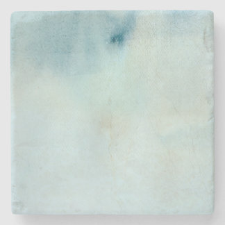 watercolor background in pastel blue and yellow stone coaster