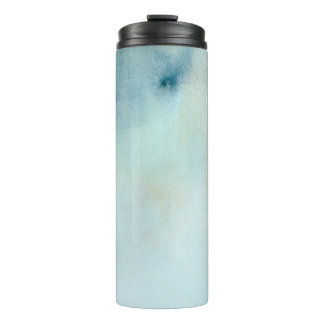 watercolor background in pastel blue and yellow thermal tumbler