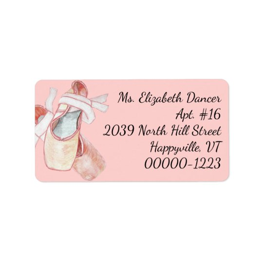 Watercolor Ballerina Pink Slippers Return Address Address Label