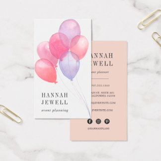 Watercolor Balloons Event Planner Business Card