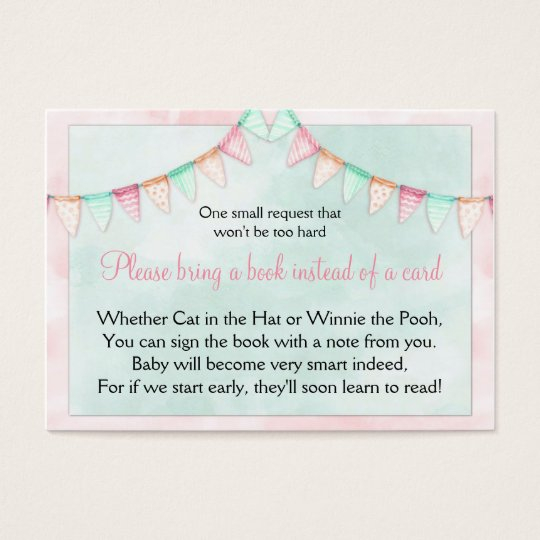 Watercolor Banners Flags Baby Shower Book Request Business Card