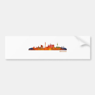 Watercolor Barcelona skyline v01 Bumper Sticker