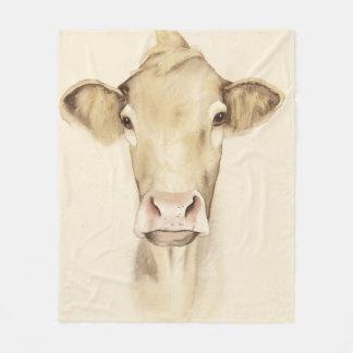 Watercolor Barn Animals   Cow Fleece Blanket