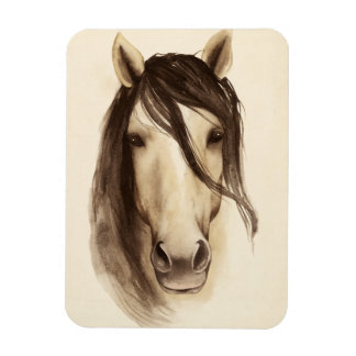 Watercolor Barn Animals | Horse Rectangular Photo Magnet