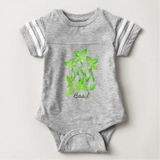 Watercolor basil illustration baby bodysuit