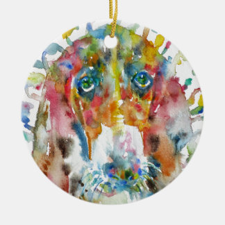watercolor BASSET HOUND Christmas Ornament