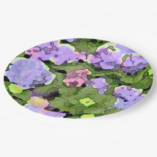 Watercolor Batik Hydrangeas 9 Inch Paper Plate